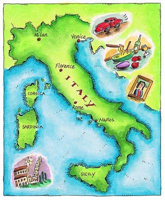 Map Of Italy Art Print by Jennifer Thermes