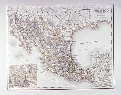 Map Of Mexico And Outlines Of Mexico City Art Print by Fototeca Storica Nazionale
