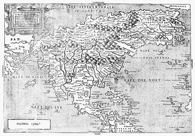 Map Of New France, 1566 Art Print