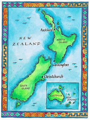 Wellington Digital Art - Map Of New Zealand by Jennifer Thermes