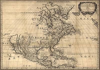 Map Of North America Continent Showing Art Print by Everett