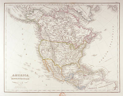 Map Of North America Art Print by Fototeca Storica Nazionale