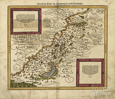 Map Of Palestine, 1588 Art Print by Photo Researchers