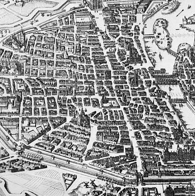 Old Street Drawing - Map Of Paris by German School