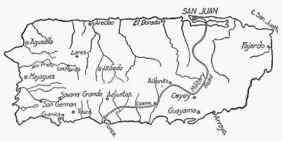 Map Of Puerto Rico, 1899 Print by Granger