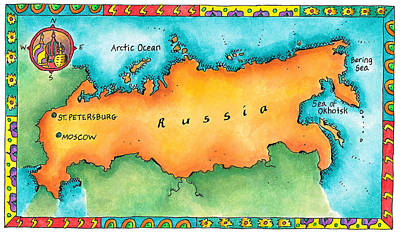 Onion Domes Digital Art - Map Of Russia by Jennifer Thermes