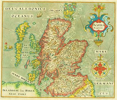 Painting - Map Of Scotland And Hebrides by Roberto Prusso