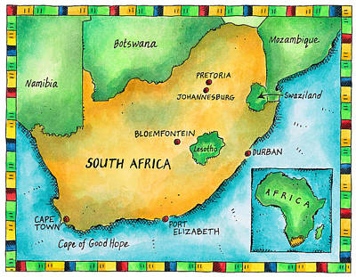 Map Of South Africa Art Print by Jennifer Thermes