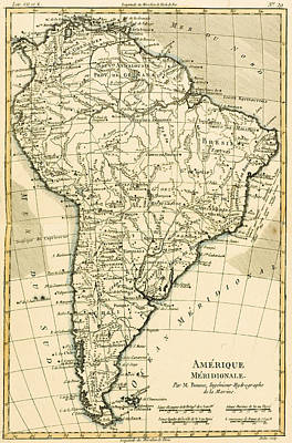 South American Drawing - Map Of South America by Guillaume Raynal
