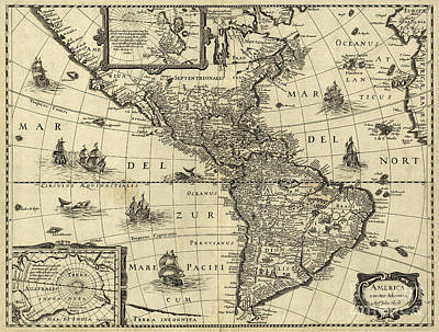 Photograph - Map Of The Americas 1640 by Photo Researchers
