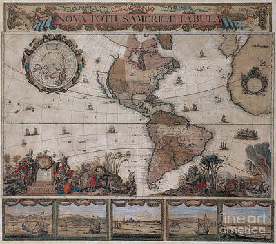Photograph - Map Of The Americas Circa 1680 by Photo Researchers