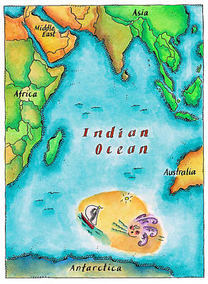 Map Of The Indian Ocean Art Print by Jennifer Thermes