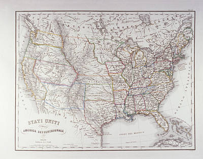Map Of The Northen United States Art Print by Fototeca Storica Nazionale