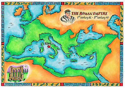 Map Of The Roman Empire Art Print by Jennifer Thermes