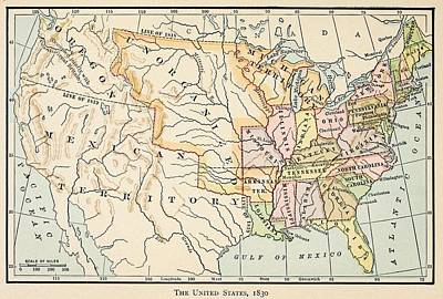 Map Of The United States In 1830 Art Print by Everett