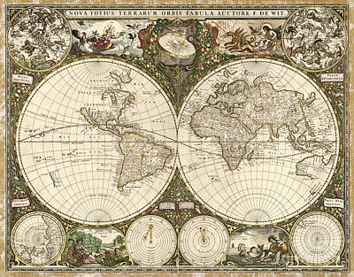 Map Of The World, 1660 Art Print by Photo Researchers