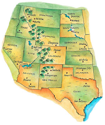 Map Of Western United States Print by Jennifer Thermes