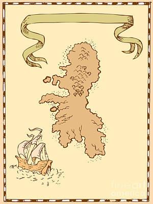 Illustration Of A Treasure Map Showing Island With Sailing Ship Galleon Digital Art - Map Treasure Island Tall Ship by Aloysius Patrimonio