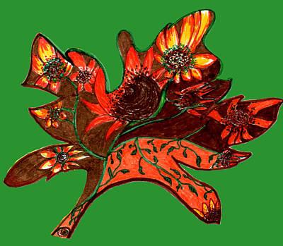 Maple Leaf With Sunflowers Art Print