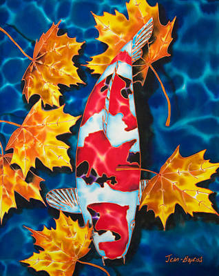 Maple Leaves And Koi Art Print by Daniel Jean-Baptiste