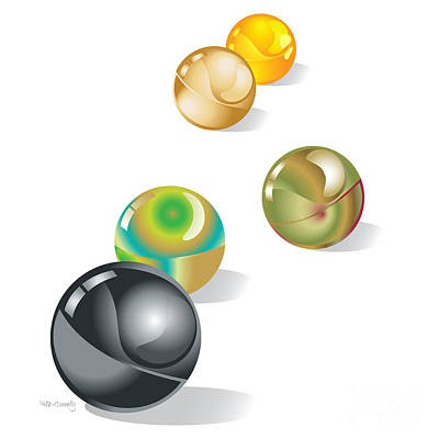 Marble Digital Art - Marbles by HD Connelly