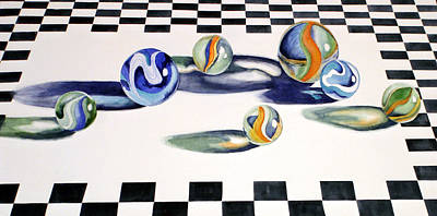 Marble Chess Boards Painting - Marbles On Checkered Cloth by Daydre Hamilton