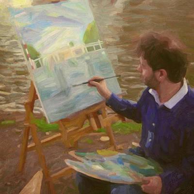 Painting - Marc Rieu En Plein Air In Weesp by Nop Briex