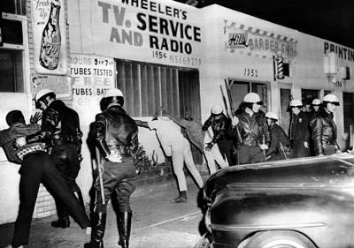 March 1966 Watts Riot. Police Search Art Print by Everett