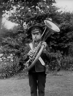 Sousaphone Photograph - Marching Boy by Fox Photos