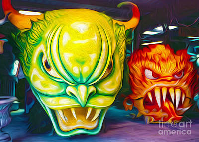 Art Print featuring the painting Mardi Gras Devils by Gregory Dyer