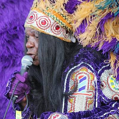 Jazz Wall Art - Photograph - Mardi Gras Indian Sings At Jazz Fesr by Rebecca Shinners