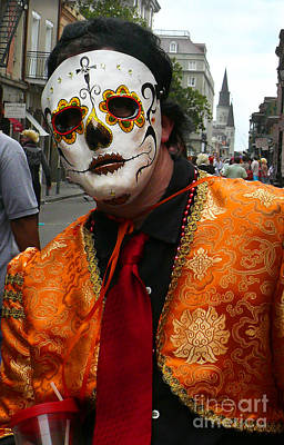 Art Print featuring the photograph Mardi Gras Man In Mask by Jeanne  Woods