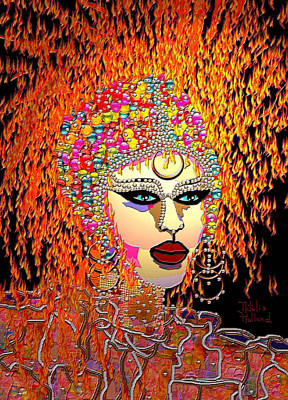 Gold Earrings Mixed Media - Mardi Gras by Natalie Holland