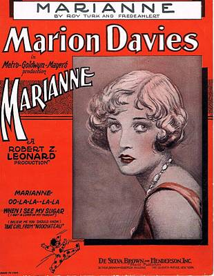 Old Sheet Music Photograph - Marianne by Mel Thompson