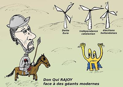 Editorial Cartoon Mixed Media - Mariano Rajoy Don Quichotte Moderne Caricature by OptionsClick BlogArt
