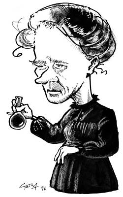 Marie Curie, Caricature Art Print by Gary Brown