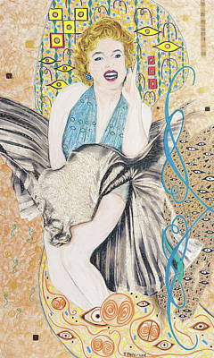 Mixed Media - Marilyn After Klimt by Todd  Peterson and Andre Deus