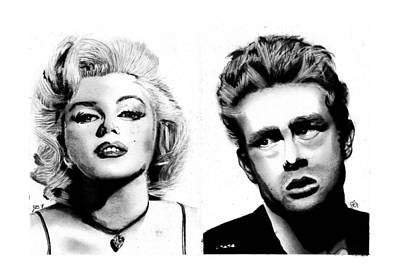 James Monroe Drawing - Marilyn And James by Josh Crawford