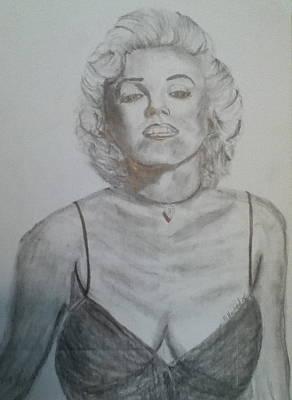 Drawing - Marilyn by Brian Hustead