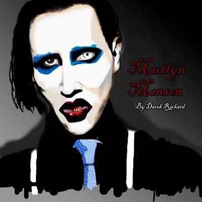 Marilyn Manson Portrait Art Print by Derek Rickard