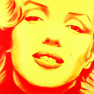 Digital Art - Marilyn Monroe - Yellow Red by Bob Baker