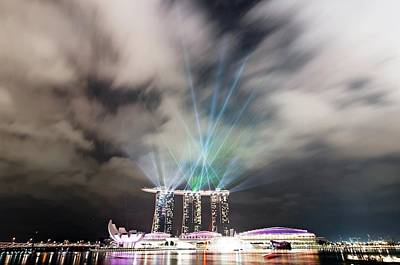 Y120817 Photograph - Marina Bay Colourful Night by Paul Biris