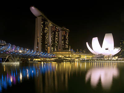Photograph - Marina Bay Sands Hotel And Artscience Museum In Singapore. by Zoe Ferrie