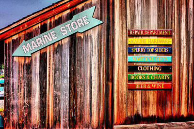 Photograph - Marina Store Signs by Trudy Wilkerson