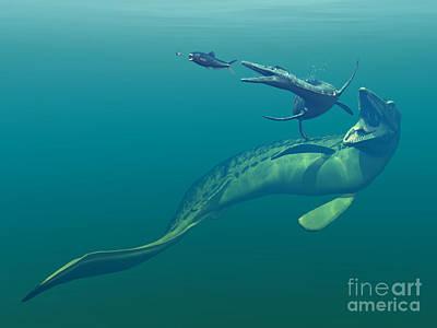 Marine Predators Of The Cretaceous Art Print