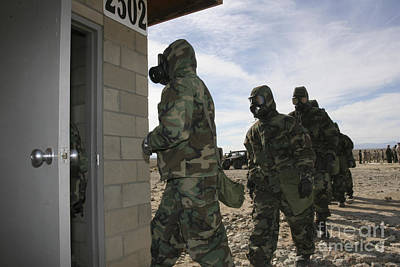 Torn Clothing Photograph - Marines And Sailors File Into The Gas by Stocktrek Images
