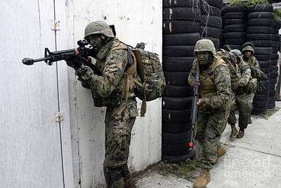 Olympic Sports - Marines Clear A House, Looking by Stocktrek Images