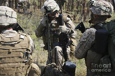 Talking On The Phone Photograph - Marines Communicate With Other Elements by Stocktrek Images