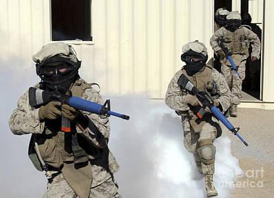 Marines Cross A Danger Area After Using Art Print by Stocktrek Images