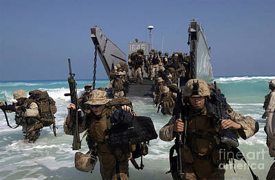 Marines Disembark A Landing Craft Art Print by Stocktrek Images